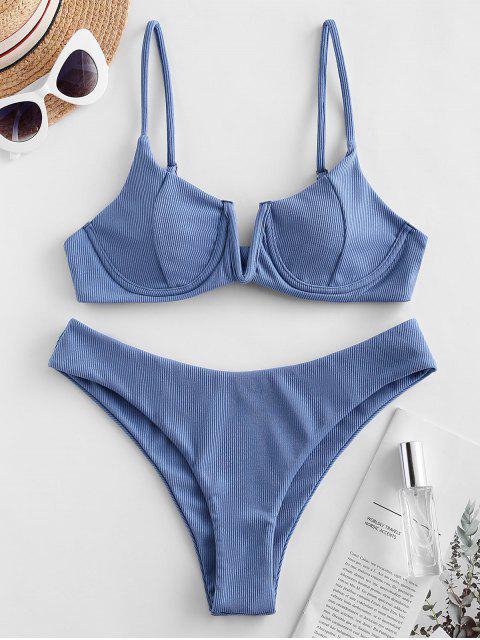 outfit Emma MacDonald x ZAFUL Ribbed V Wired High Leg Bikini Swimsuit - LIGHT SKY BLUE S Mobile