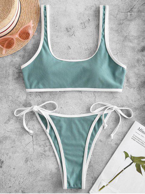 latest Emma MacDonald x ZAFUL Ribbed Piping Tie Side Bikini Swimsuit - SEA GREEN S Mobile