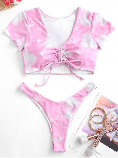 unique Emma MacDonald x ZAFUL Tie Dye Cinched High Leg Short Sleeve Bikini Swimwear - PIG PINK S Mobile