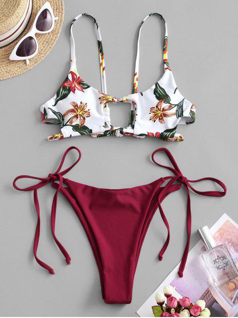 Costume da Bagno Bikini Floreale con Nodo Laterale di ZAFUL - Vino Rosso S Mobile
