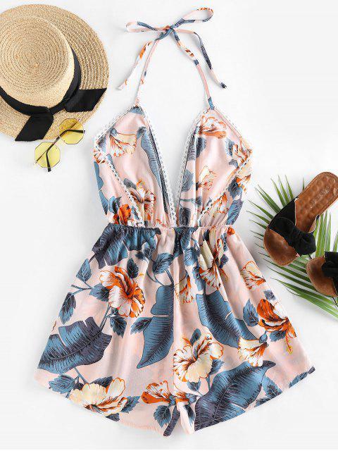 fashion ZAFUL Halter Tropical Print Backless Romper - PINK ROSE S Mobile