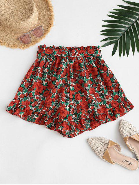 chic Ruffled Hem Belted Floral Paperbag Shorts - DEEP RED L Mobile