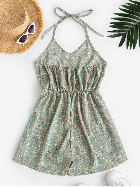 Mono Femenino Floral con Cintura Elástica - Verde claro L Mobile