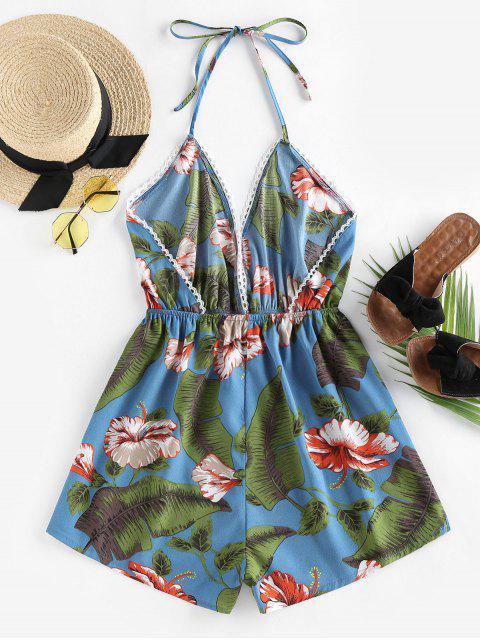shop ZAFUL Halter Tropical Print Backless Romper - PEACOCK BLUE L Mobile