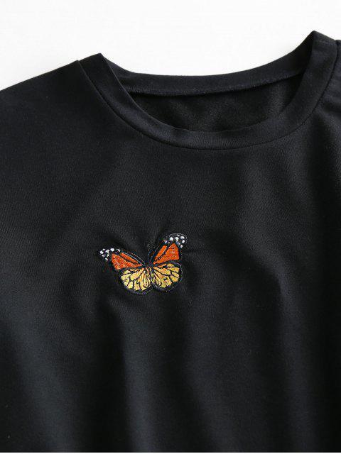 ZAFUL Set de Cintura Alta con Bordado de Mariposa - Negro M Mobile
