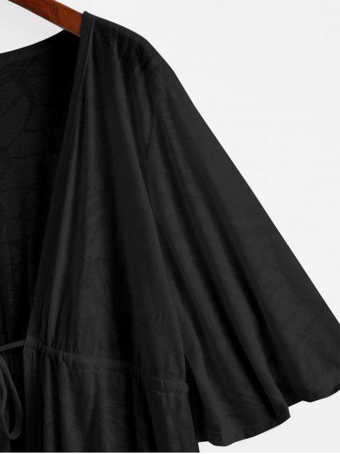 Halbtransparente Kimono Cover-Up mit Tunnelzug - Schwarz Eine Größe Mobile