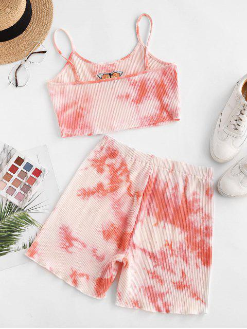 shop Tie Dye Ribbed Butterfly Embroidered Two Piece Shorts Set - LIGHT PINK XL Mobile