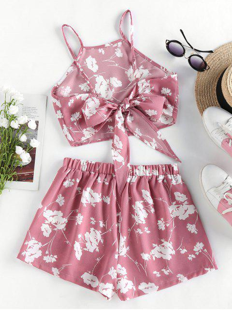 womens ZAFUL Flower Print Knot Cami Two Piece Set - LIPSTICK PINK XL Mobile
