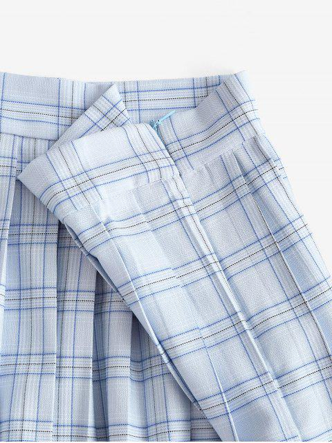 shop Plaid Pleated Mini Skirt - LIGHT BLUE M Mobile