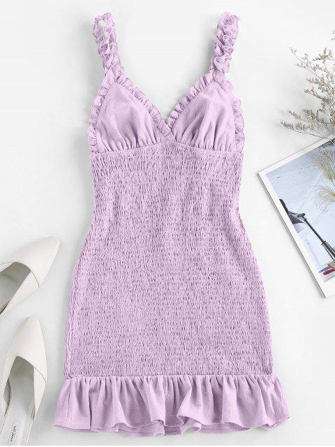 fashion ZAFUL Smocked Ruffled Bodycon Dress - LIGHT PURPLE M Mobile