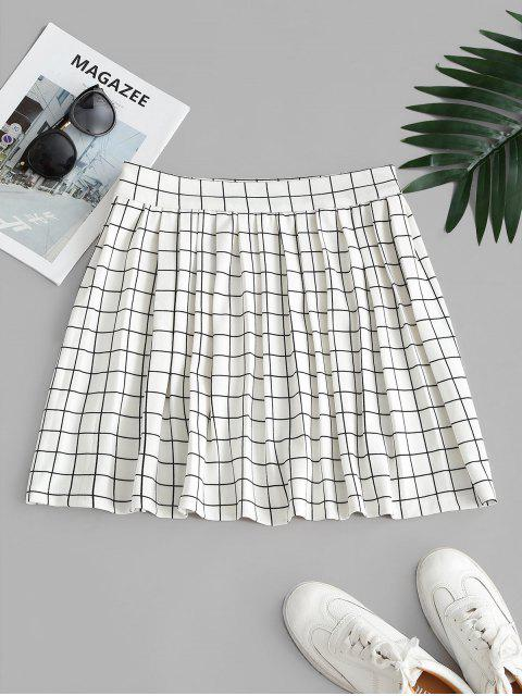 High Waisted Checked Pleated Mini Skirt - أبيض M Mobile