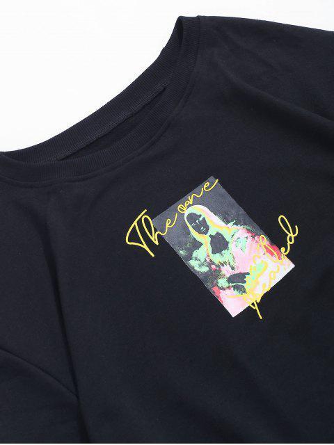 women's Photographic Print Crew Neck Graphic Sweatshirt - BLACK S Mobile