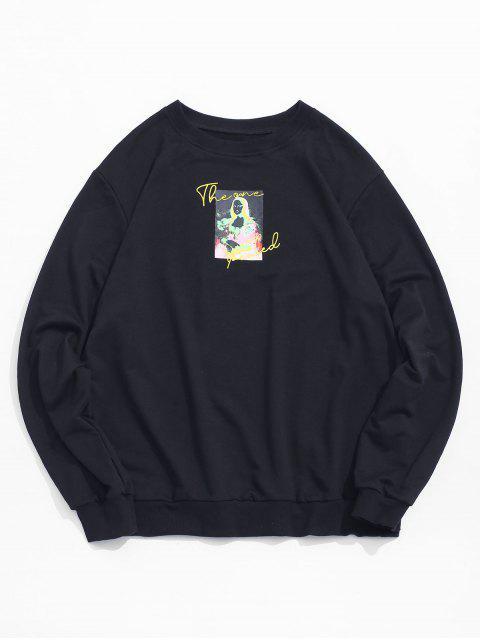 ladies Photographic Print Crew Neck Graphic Sweatshirt - BLACK M Mobile