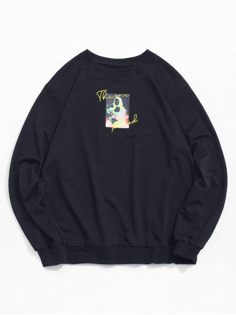 best Photographic Print Crew Neck Graphic Sweatshirt - BLACK XL Mobile