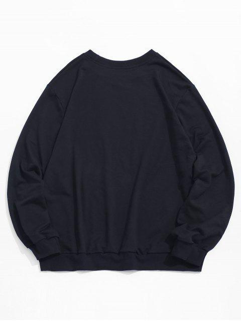 online Photographic Print Crew Neck Graphic Sweatshirt - BLACK 2XL Mobile