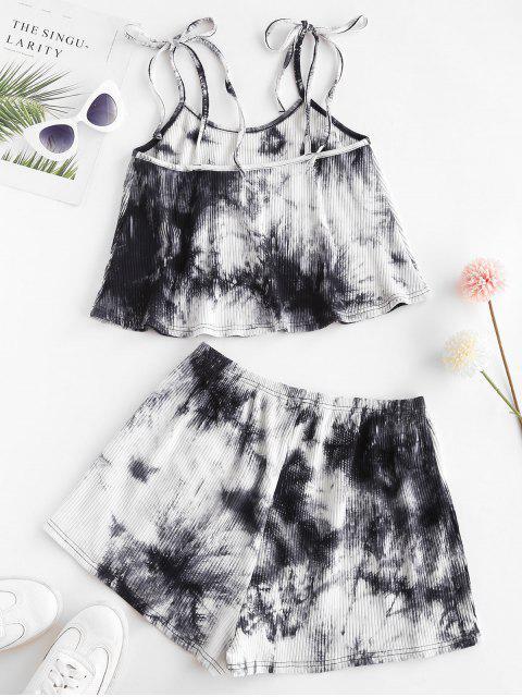 best ZAFUL Tie Dye Ribbed Tie Shoulder Shorts Set - BLACK S Mobile