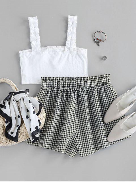 online ZAFUL Ribbed Crop Top and Checked Shorts Two Piece Set - MILK WHITE S Mobile