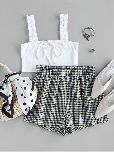 outfits ZAFUL Ribbed Crop Top and Checked Shorts Two Piece Set - MILK WHITE M Mobile