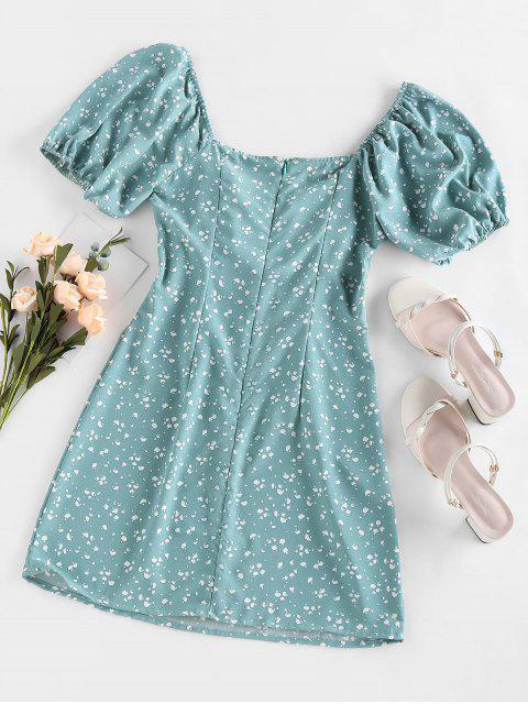 shops ZAFUL Cow Print Bowknot V Neck Mini Dress - LIGHT GREEN L Mobile