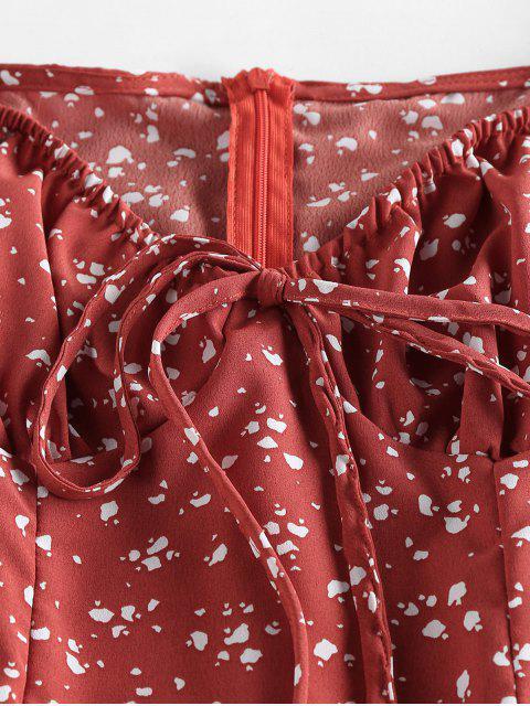 trendy ZAFUL Cow Print Bowknot V Neck Mini Dress - CHERRY RED L Mobile