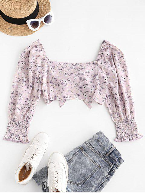 chic ZAFUL Floral Print Smocked Cuff Tie Front Crop Blouse - LIGHT PURPLE L Mobile