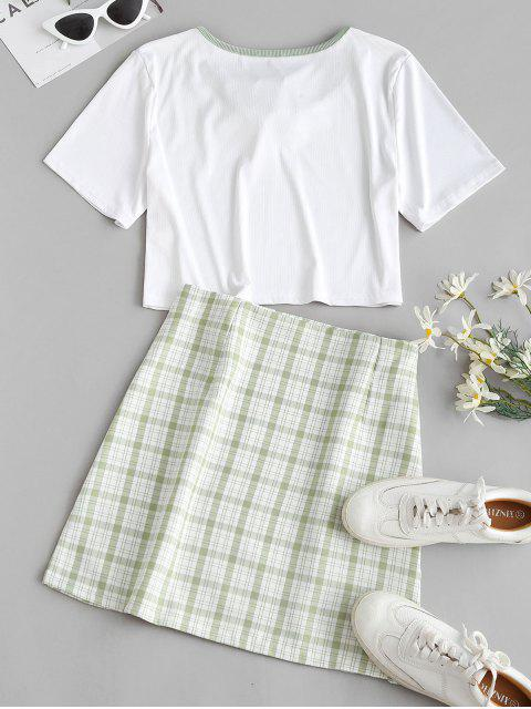 fashion Ribbed Binding Tie Plaid Two Piece Skirt Set - LIGHT GREEN L Mobile
