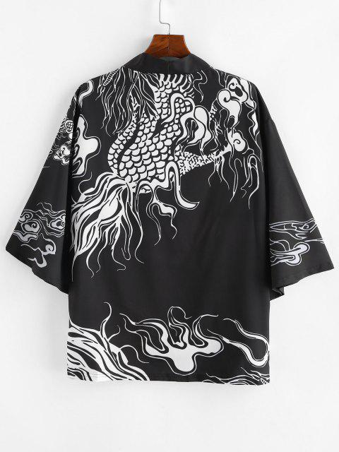 trendy Dragon Pattern Open Front Kimono Cardigan - BLACK L Mobile