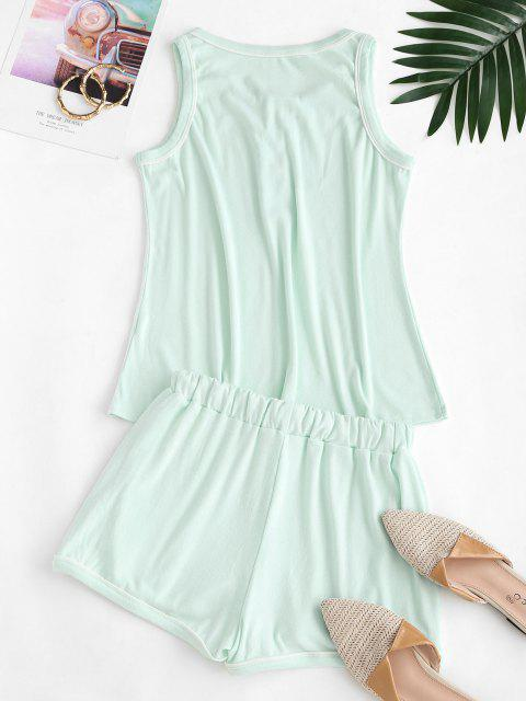 unique Half Buttoned Lounge Top And Sweat Shorts Set - LIGHT GREEN S Mobile