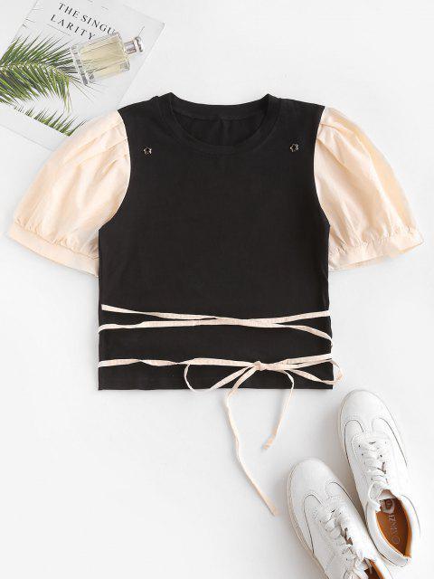 Puff Ärmel Zweifärbige Bicolor T-Shirt - Schwarz L Mobile