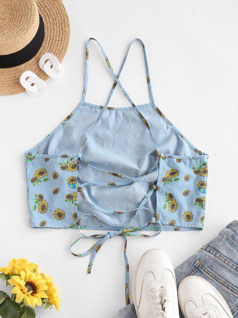 ZAFUL Sonnenblumen Chambray Crop Cami Top mit Schnürung - Helles Blau M Mobile