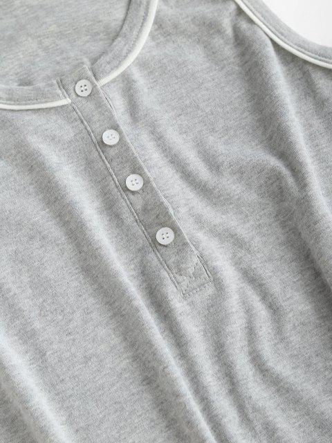 Halbe Geknöpfte Lounge Top und Sweat Shorts Set - Hellgrau 2XL Mobile
