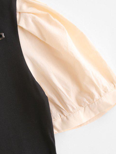 T-shirt Bicolore à Bretelle à Manches Bouffantes - Noir S Mobile
