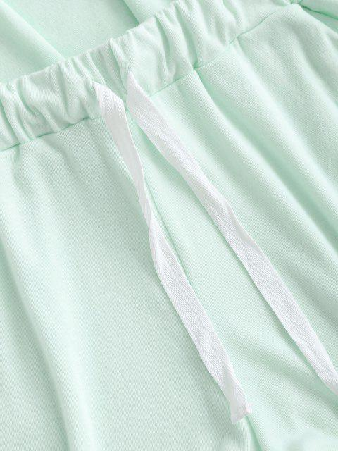fashion Half Buttoned Lounge Top And Sweat Shorts Set - LIGHT GREEN M Mobile