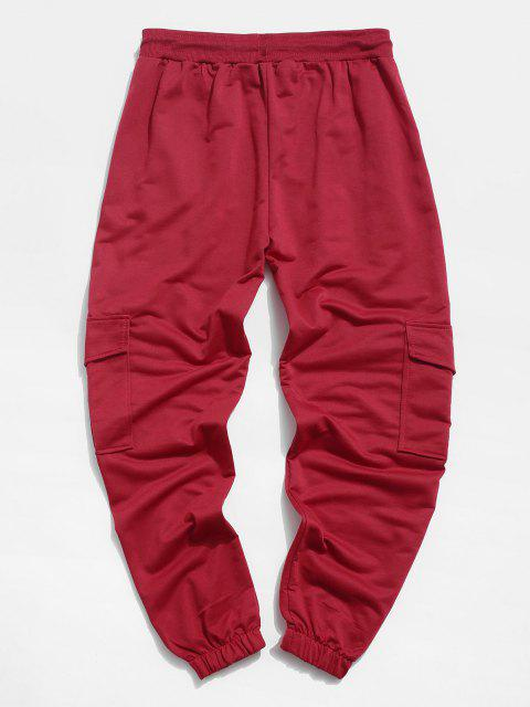 trendy Pleated Drawstring Cargo Jogger Pants - RED 2XL Mobile
