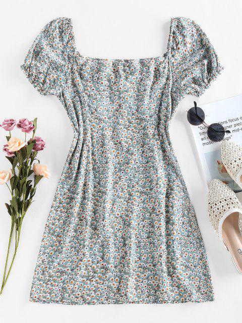 fashion ZAFUL Tiny Floral Print Bowknot Milkmaid Dress - LIGHT GREEN S Mobile