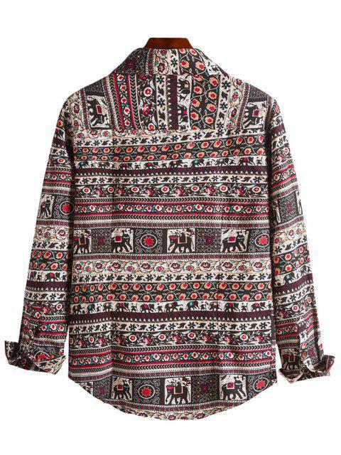 latest Floral Tribal Print Curved Hem Shirt - MULTI-B XS Mobile