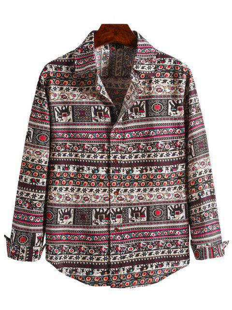 Camisa Manga Larga Estampado Tribal - Multicolor-B 2XL Mobile
