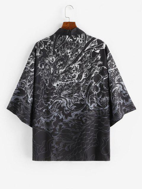 latest Open Front Dragon Graphic Kimono Cardigan - SILK WHITE 3XL Mobile