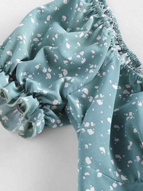 ZAFUL Patched bolsos do casaco de mangas compridas multicolorida Bordado - Luz verde L Mobile