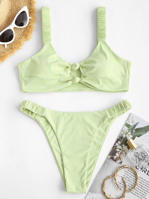 outfits ZAFUL Ribbed Knotted Keyhole High Leg Bikini Swimwear - LIGHT GREEN S Mobile