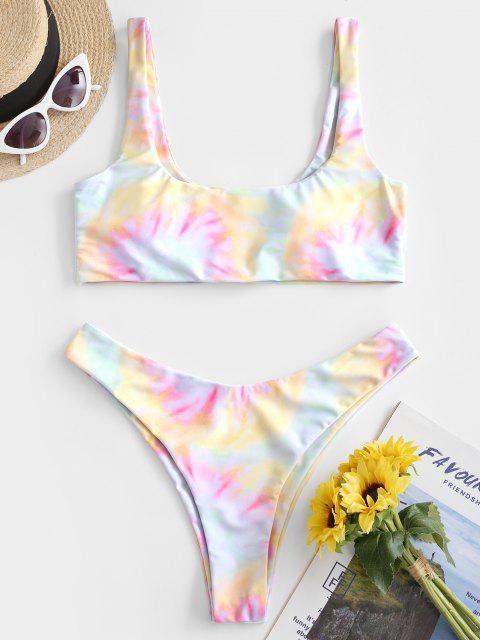 unique Emma MacDonald x ZAFUL Tie Dye High Cut Tank Bikini Swimsuit - MULTI-A S Mobile