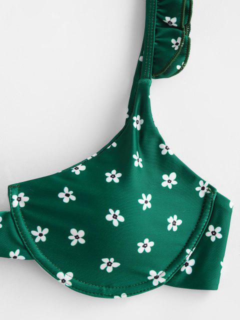 ZAFUL Blumen Bügel Bikini Badebekleidung mit Hohem Bein - Dunkelgrün M Mobile
