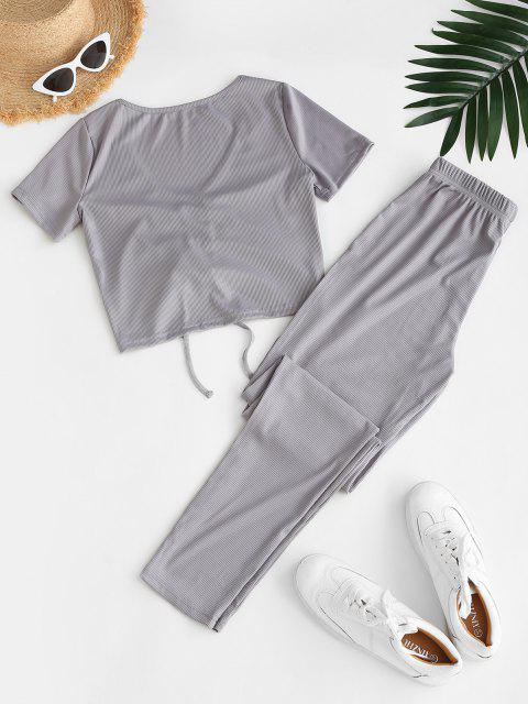 women's Ribbed Cinched High Waisted Pants Set - GRAY M Mobile