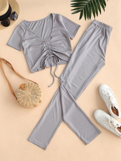 fashion Ribbed Cinched High Waisted Pants Set - GRAY XL Mobile
