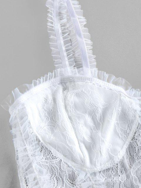 unique Ruffled Lace Crop Tank Top - WHITE S Mobile