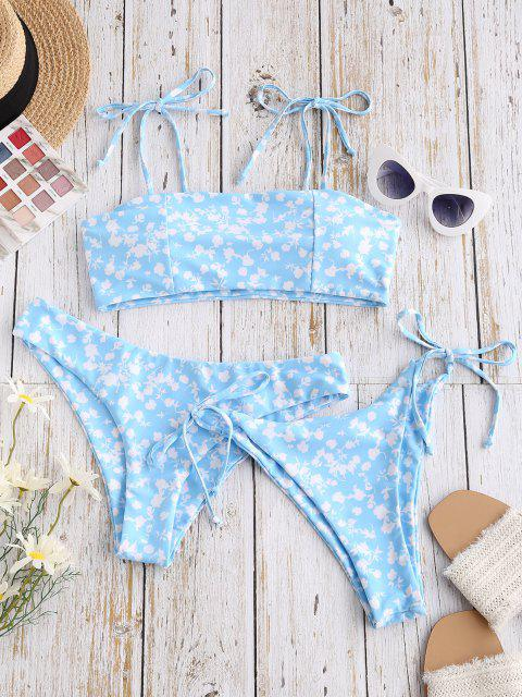 ZAFUL Maillot de Bain Bikini Fleuri à Epaule Nouée Trois Pièces à Cordon - Bleu clair M Mobile