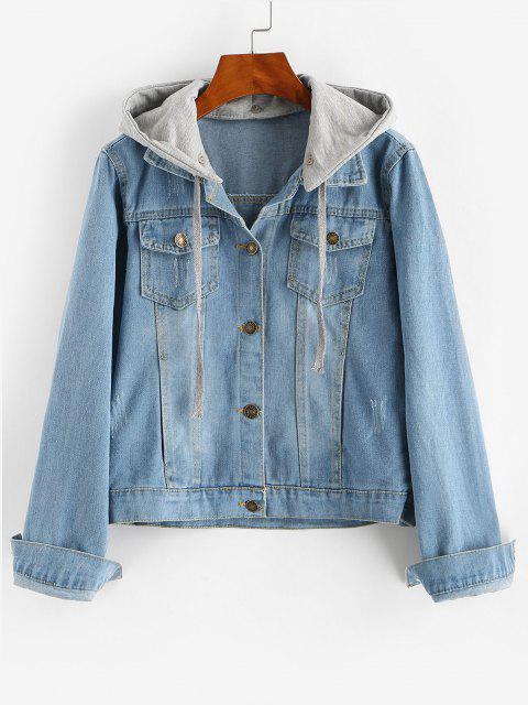 women Contrast Detachable Hooded Distressed Denim Jacket - BLUE L Mobile