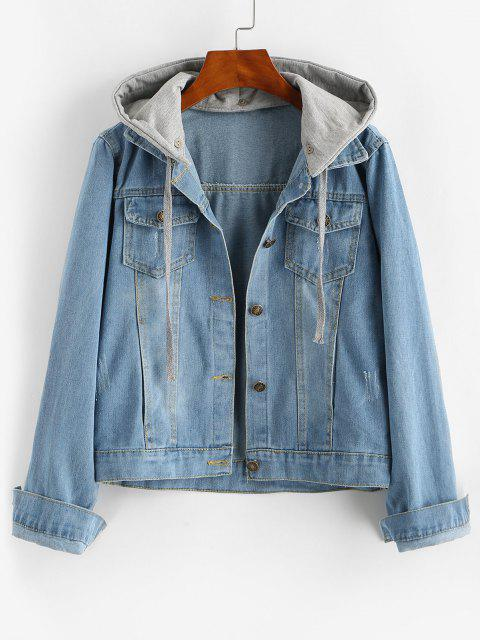 best Contrast Detachable Hooded Distressed Denim Jacket - BLUE S Mobile