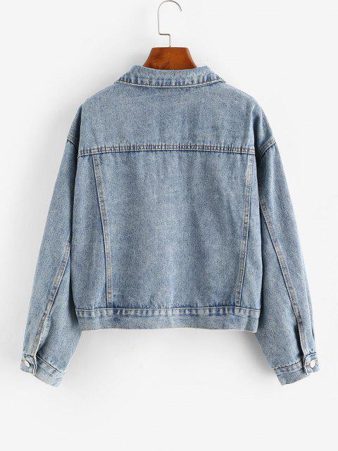 sale Drop Shoulder Pocket Single Breasted Denim Jacket - BLUE L Mobile