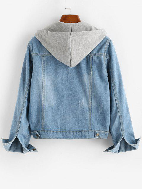 hot Contrast Detachable Hooded Distressed Denim Jacket - BLUE M Mobile